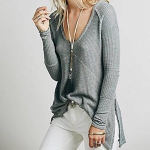 Free People Waffle Knit Distressed Thermal
